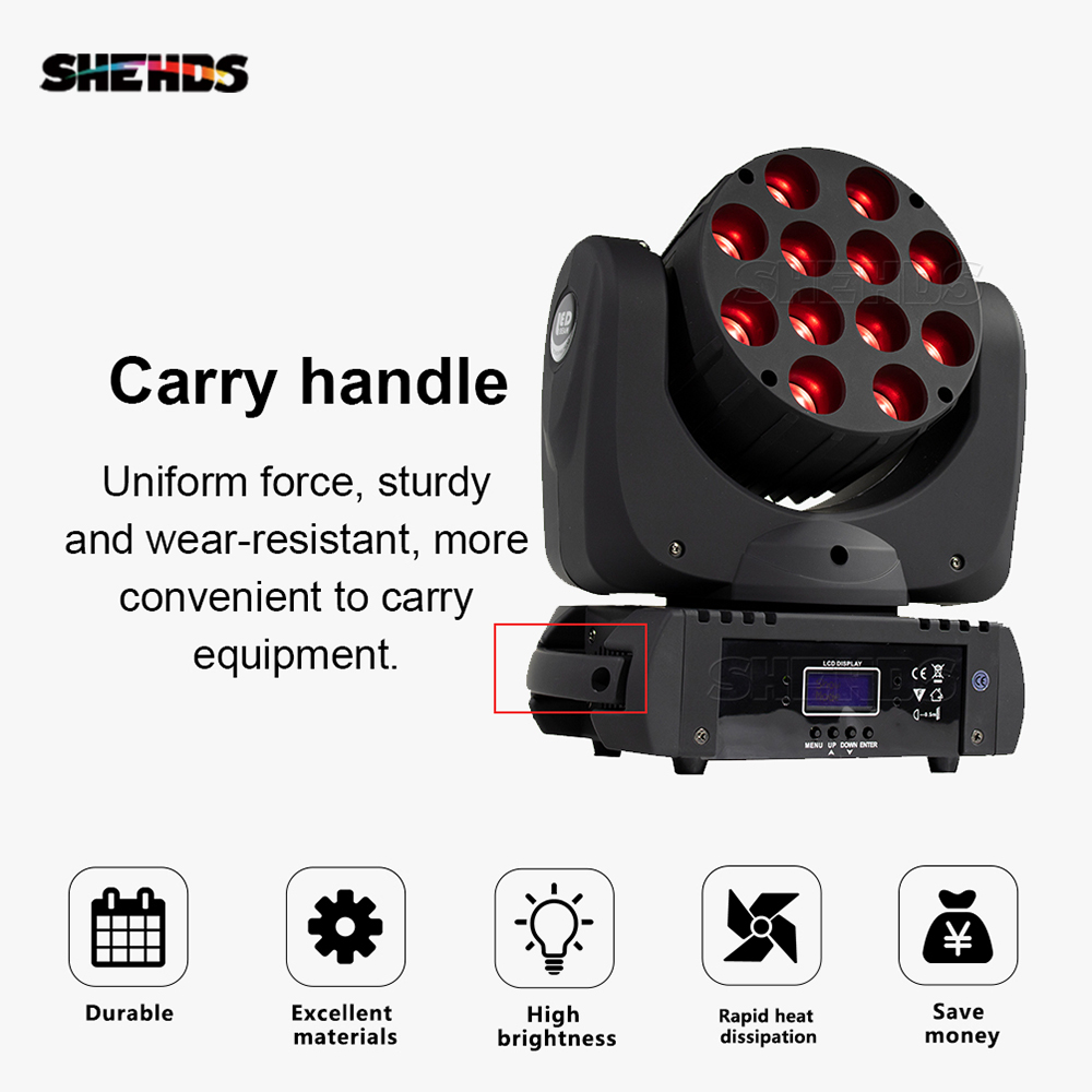 Lyre DMX Stage Light LED Moving Head LED Beam 12X12W RGBW  Professional Stage DJ Mini LED 10W Spot Beam Home SHEHDS