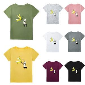 Image 5 - Summer Tops 5XL Plus Size T Shirt Women Cotton T Shirt Banana Cartoon Print Short Sleeve Funny Cute Tee tshirt female Tunic