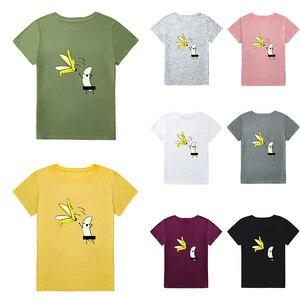 Image 5 - Yaz üstleri 5XL artı boyutu T Shirt kadın pamuklu tişört muz karikatür baskı kısa kollu komik sevimli Tee tişört kadın tunik