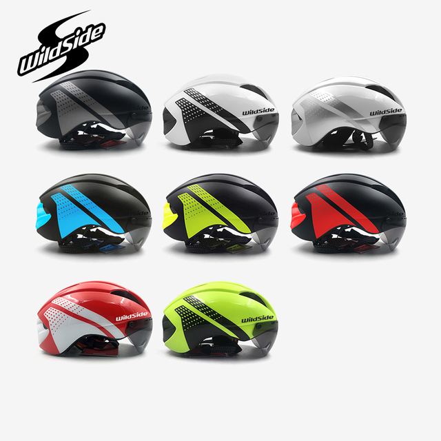 Aero capacete tt tempo julgamento ciclismo capacete para homens mulheres óculos de corrida de estrada da bicicleta capacete com lente casco ciclismo equipamentos 6