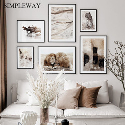 Scandinavian Canvas Poster Nordic Wall Art Print Abstract Painting Lion Leopard Animal Decorative Picture Modern Home Decoration