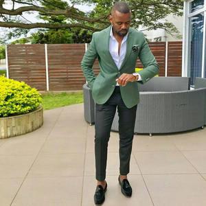 Image 1 - เครื่องแต่งกาย Homme บุรุษชุดสูท (เสื้อ + กางเกง) การออกแบบล่าสุดสีเขียวฤดูร้อนชายหาดงานแต่งงาน Man Blazer เจ้าบ่าว Tuxedo ผู้ชาย 2 ชิ้นชุด