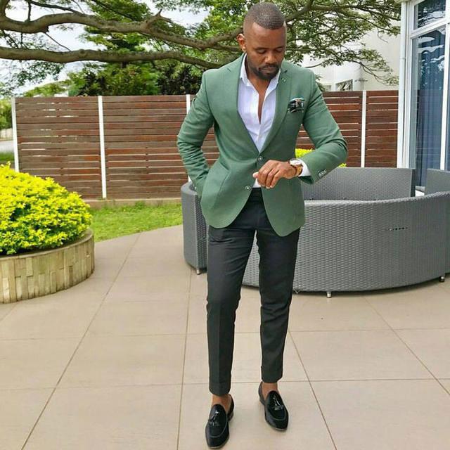 เครื่องแต่งกาย Homme บุรุษชุดสูท (เสื้อ + กางเกง) การออกแบบล่าสุดสีเขียวฤดูร้อนชายหาดงานแต่งงาน Man Blazer เจ้าบ่าว Tuxedo ผู้ชาย 2 ชิ้นชุด
