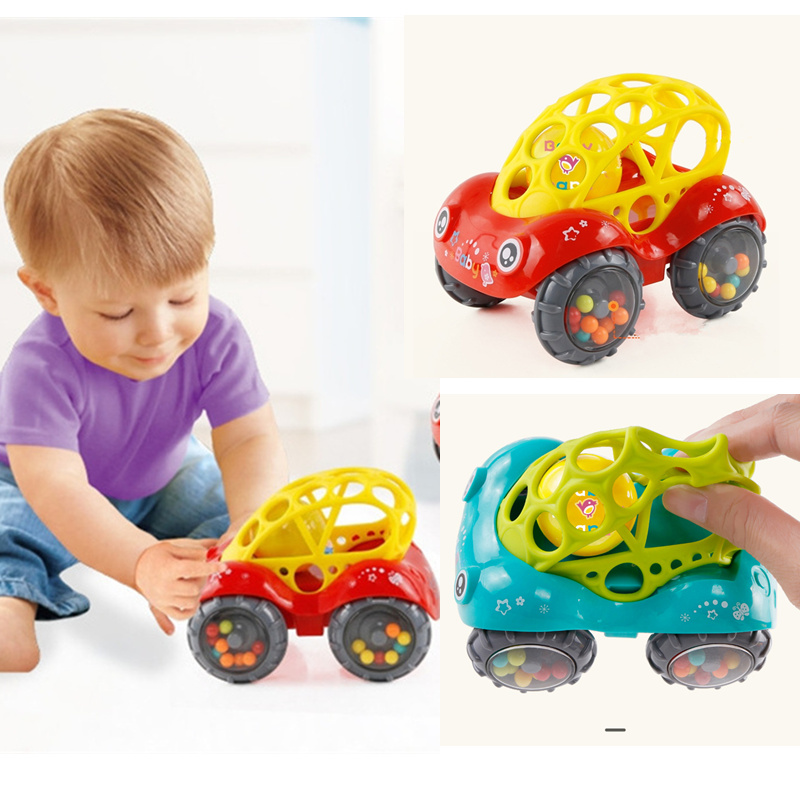 Baby Kids Inertial Slides Car Newborn Baby Bells Hold Soft Material Toys Hand Rattle Bab Boys Girls Toys Rattle 0-2Years