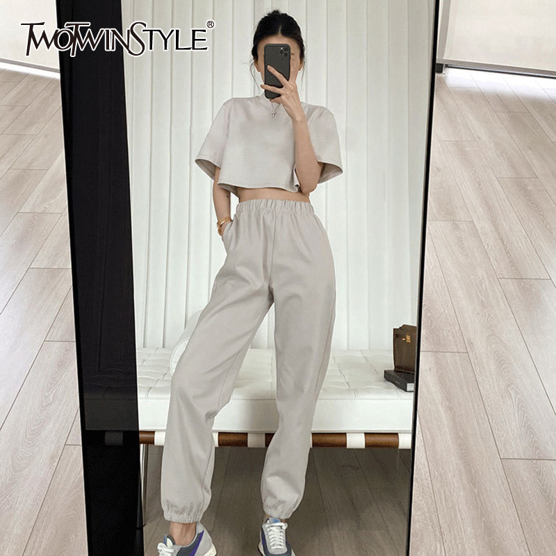TWOTWINSTYLE Casual Women Two Piece Set O Neck Short Sleeve Corp Top High Waist Loose Ankle Length Pants Summer Suit Female Tide        АлиЭкспресс
