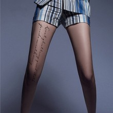 Women Fashion Tights With Inscriptions Skin Transparent Printed Letter Pattern Tattoos Pantyhose Woman Stockings Tattoo Lingerie