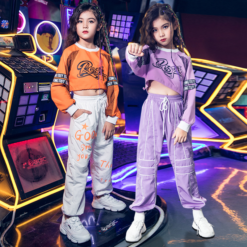 Hip Hop Dance Costumes Girls Street Dancing Clothing Children Modern Jazz Performance Wear Kids Cheerleading Stage Outfit DN4729