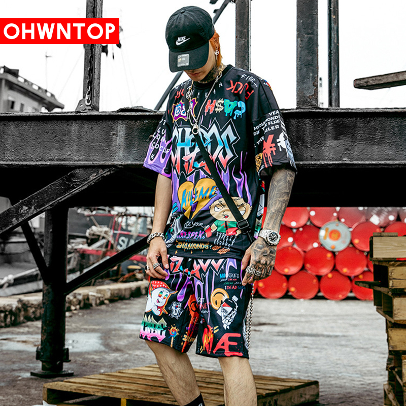 Men Graffiti Cartoon Printed Sets Hip Hop Shorts T Shirt Suits Fashion High Street Tees Summer Streetwear Joggers Short Trousers