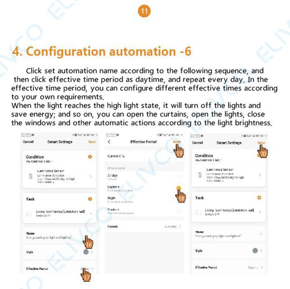 execução de ligação automática brilho detecção interruptor