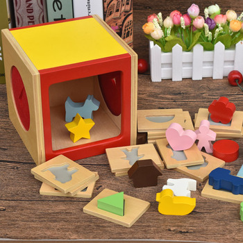 цена на Children's wooden intelligence box building block toy wooden shape box geometric color cognitive early education game