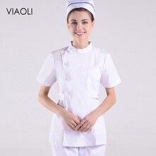 Maleand женские доктора взять небольшой сплит костюм короткие медсестры аптека комбинезоны летняя Стоматологическая одежда белое пальто ICU два комплекта