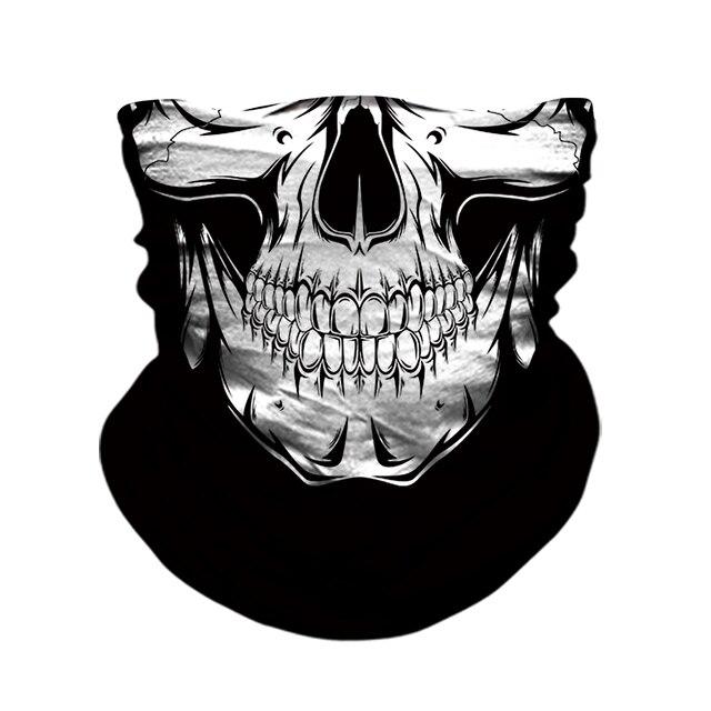 3D Skull Skeleton Balaclava Seamless Motorcycle Neck Face Shield Mask Scarf Bicycle Hunting Outdoor Anti-UV Bandana Headband 2