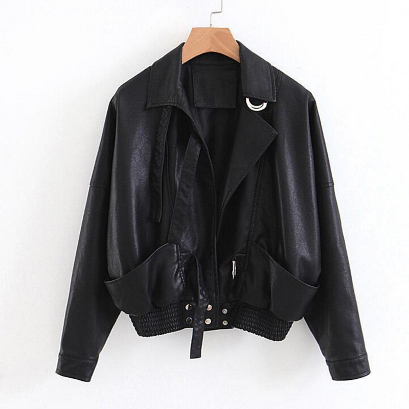 New Spring PU   Leather   Jacket Women Black Faux Soft   Leather   Jackets Coats For Ladies Motorcycle Casual Fashion Female Clothes