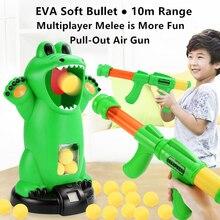 Frog Counter Shooting Toy Manual Air-Powered Gun EVA Soft Bullet 10m Range Hitting Sound Effect Multiplayer Battle Kids Toys