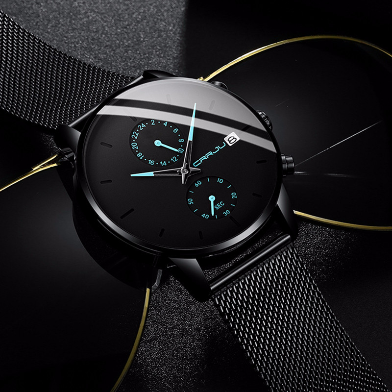 Montres pour hommes CRRJU montres en acier inoxydable pour hommes montre à quartz décontractée Unique pour hommes Sport horloge étanche Relogio Masculino