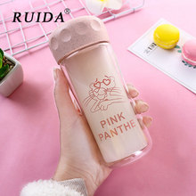 260ml Cartoon Unicorn Glass Water Bottle Leakproof Travel Bottle Sport Drink Cup Coffee Mug Cute Pink Panther Milk Water Bottles