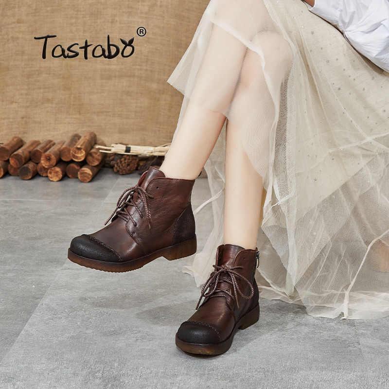 Tastabo hakiki deri el yapımı kadın çıplak botlar yumuşak tabanlı ayakkabı vahşi Martin çizmeler gri kahverengi S518-2 düşük topuk kadın botları