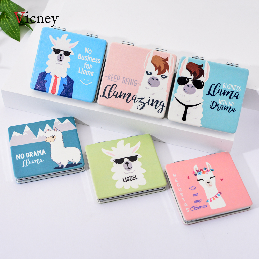 Vicney 2019 New Portable Pocket Square PU Makeup Mirror Gift Fashion Personality Cute Camel Alpaca Folding