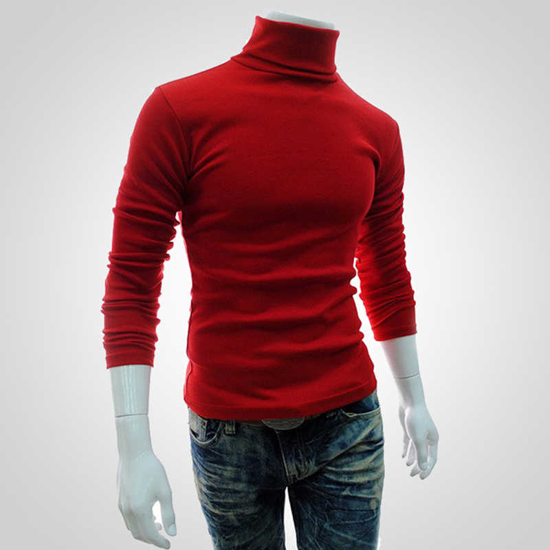 Puimentiua 2019 jesienno-zimowy męski sweter męski golf jednokolorowy swobodny sweter Homme Slim Fit dzianina bawełniana swetry