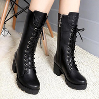 Plus size 41/42 ladies winter shoes genuine leather boots for women sexy moto boots wedges shoes girls mid calf boot