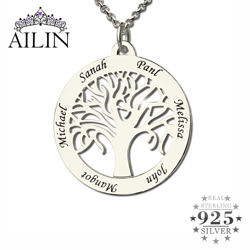 AILIN Personalized Family Tree Necklace Engraved Circle Necklace Sterling Silver Mother Necklace Present for Her Family Jewelry
