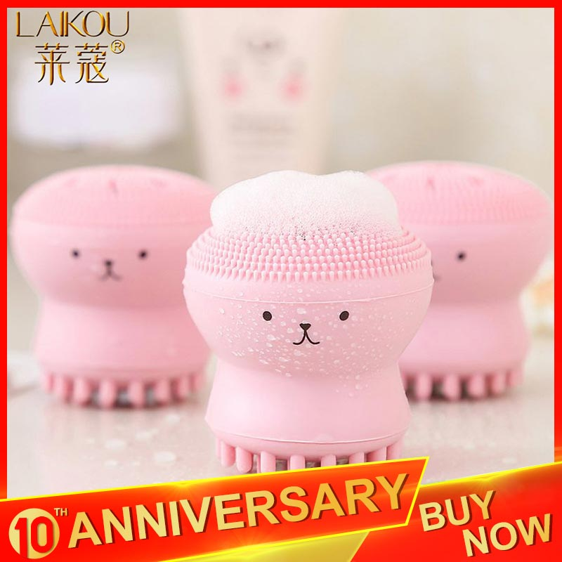 LAIKOU Mimi Silicone Face Cleanser Massage Brush Facial Cleansing Skin Deep Washing  Waterproof Face Cleansing Brush Tools