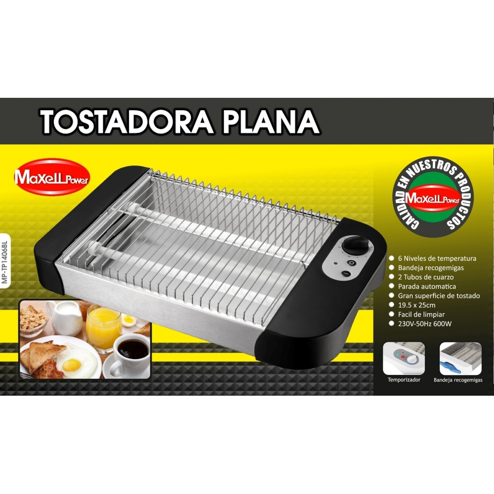 TOASTER ELECTRIC FLAT 2 TUBES 600W HORIZONTAL 6 LEVELS EASY TO CLEAN MP-TP1006BL