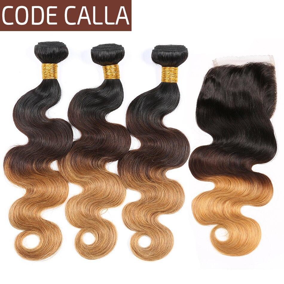 Код Calla Ombre цвет тела волна Связки с 4*4 Кружева Закрытие Необработанные бразильские необработанные девственные человеческие волосы Weft расширение