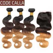 Code Calla Ombre Color Body Wave 3 Bundles With Lace Closure Free Part Remy Brazilian Human Hair Weave Extensions For Woman
