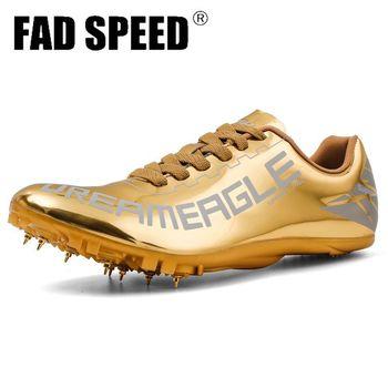 Outdoor New Unisex Spike buty do biegania Golden Track Field Spike buty antypoślizgowe buty mężczyźni zawód kobiety buty sportowe tanie i dobre opinie FAD SPEED Cotton Fabric Do użytku na trawie na zewnątrz Profesjonalne wodoodporne Średnia (B M) RUBBER FORMOTION Sznurowane