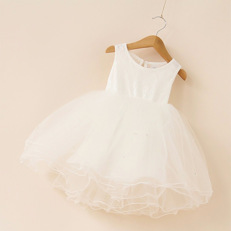 2019 New Summer Cute Sleeveless Girls Clothes Lace Mesh Design Kids Princess Dress Pearl Girls Dress Party Dress for 2 9 Years in Dresses from Mother Kids