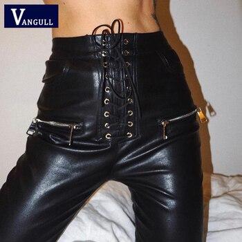 Vangull Pantalones Rectos De Piel Sintetica Para Mujer Pantalon De Cintura Alta Con Encaje Color Negro Ajustados Informales Para Primavera 2021 Nookmarket Se