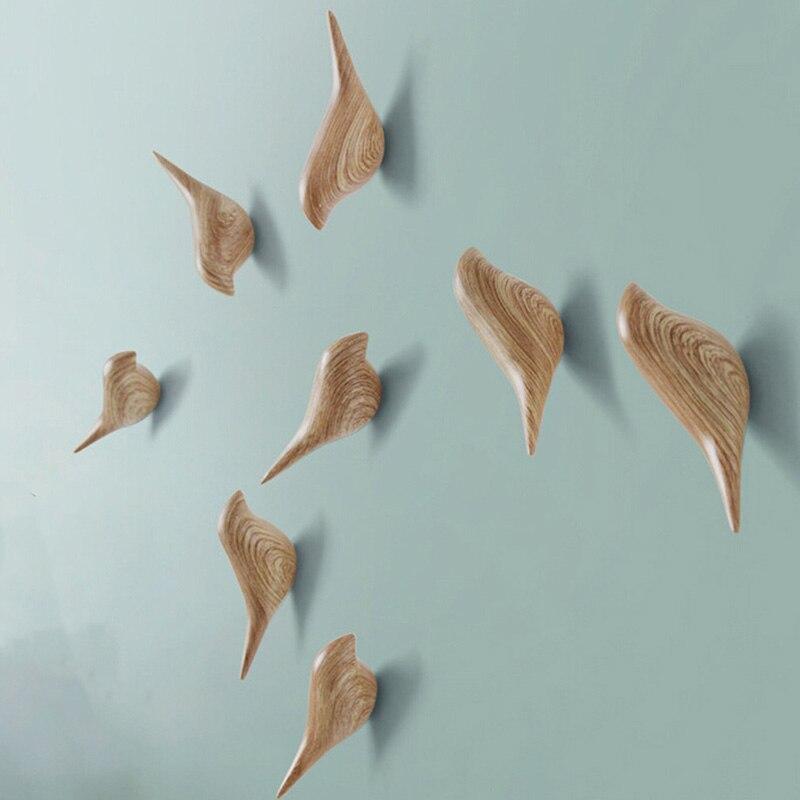Kreative Vogel Form Wand Haken Hause Dekoration Harz Holzmaserung Lagerung Rack Schlafzimmer Tür Nach Mantel Hut Aufhänger