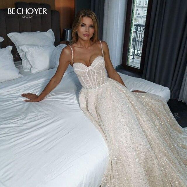 Wedding Dress Shiny Sleeveless A-Line Beach Beaded 2021 Boho Party Bride Gown Princess BECHOYER PT02 Plus Size Vestido De Noiva 3