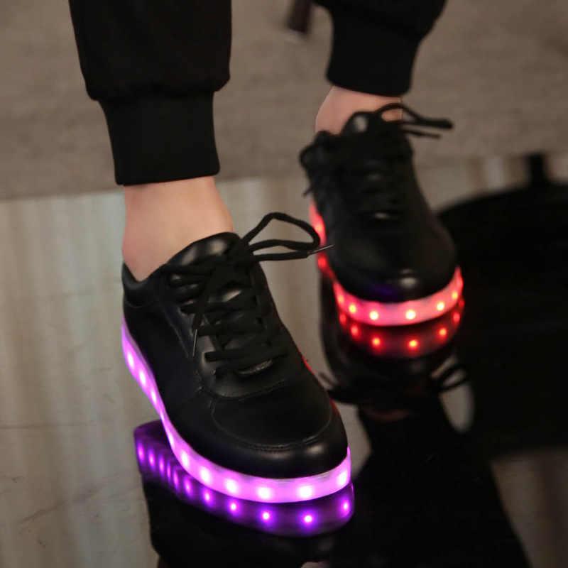 Işıltılı Sneakers USB şarj işıklı ayakkabı kızlar için parlayan Sneakers ışıklı çocuk ayakkabısı Led terlik schoenen met lichtjes