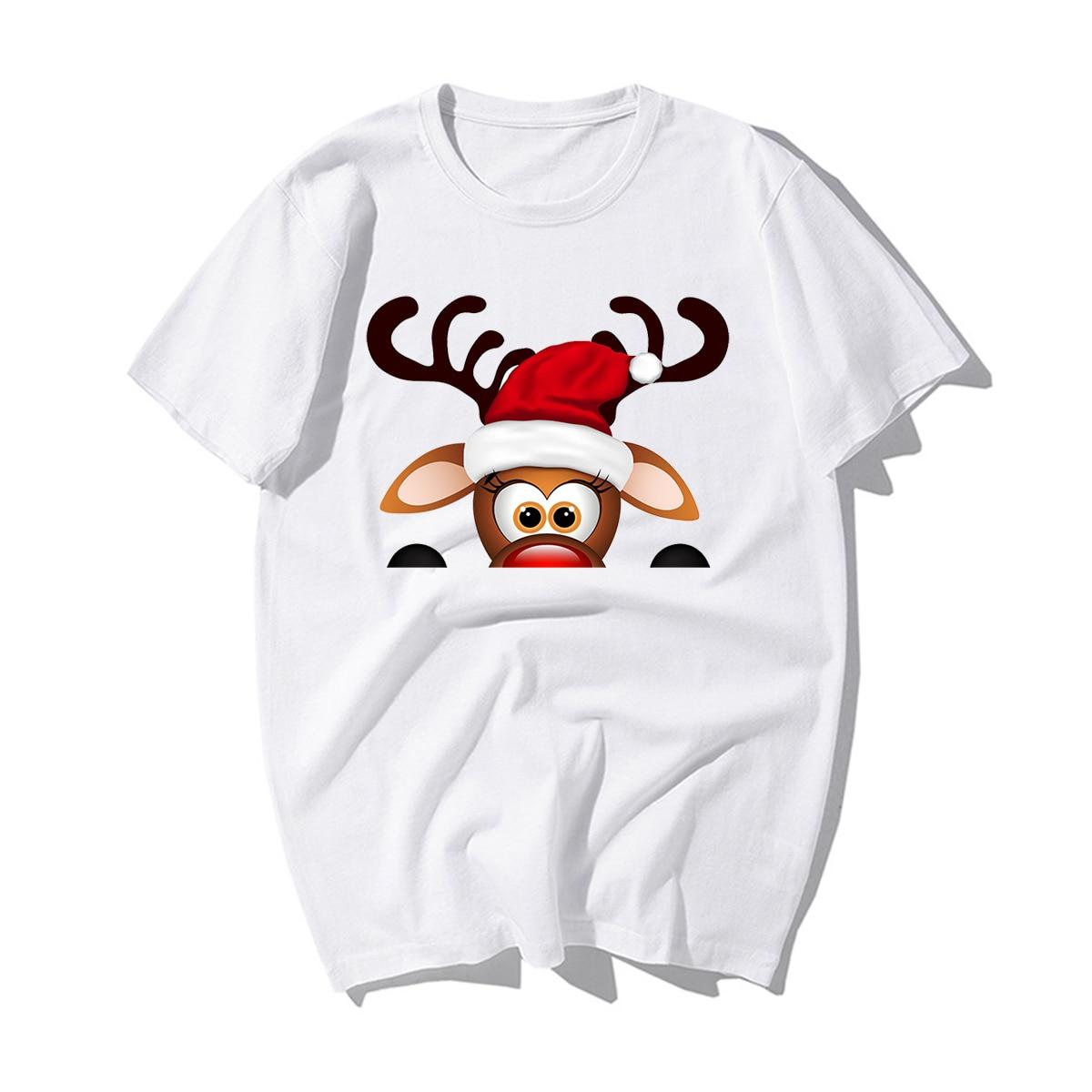 Funny Merry Christmas T-shirts Men New Casual Cotton Reindeer Santa Claus Christmas Tree Tshirt Mens Xmas Happy New Year Gift