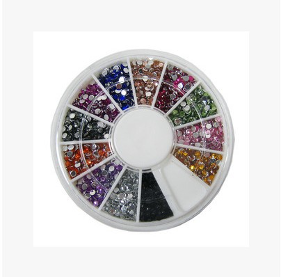 Nail Ornament Nail Rhinestone Nail Man-made Diamond Sequin 12 Color Boxed Flat Diamond Mobile Phone Diamond Sticker Immitation A