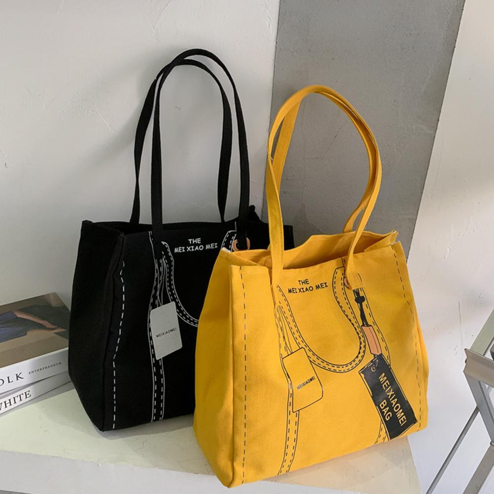 Korean Casual Canvas Shoulder Bag Women Big Capacity Travel Handbag Printed Tote Fashion Exquisite Shopping Bag 1