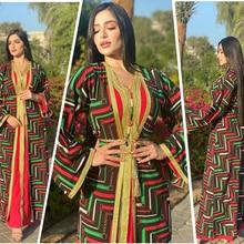 AB066 Dress Combination Red Abaya Turbans For Women Hijab Scarf Muslim 2 Piece Set Veil Female Arabic Kaftan With Inner Belt