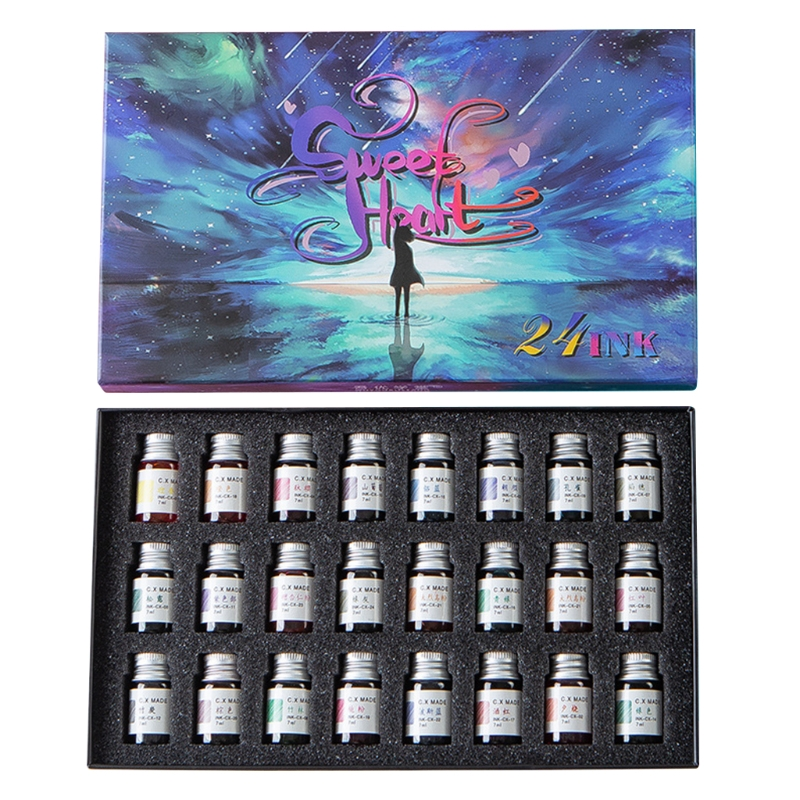24 Colors 7ml Gold Powder Ink for Fountain Dip Pen Calligraphy Writing Painting