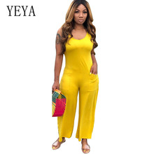 YEYA Elegant Long High Waist Pocket Plus Size 3XL Casual Jumpsuits Summer Women Wide Leg Loose New Fashion Rompers Playsuits