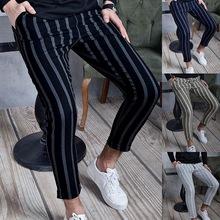 Moda 2021 lato cienkie paski spodnie mężczyźni marka nowy szczupły Fit Hip Hop męskie spodnie na co dzień Streetwear biegaczy męskie spodnie tanie tanio Jodimitty Ołówek spodnie CN (pochodzenie) Mieszkanie Poliester NONE REGULAR 32 28 - 37 8 Men Pants Midweight Suknem Pełnej długości