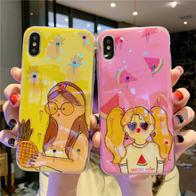 GYKZ Summer Fruit Girl Phone Case For iPhone X XS MAX XR 7 8 6 6s Plus Shining Diamond Soft Back Cover Blue Ray Bag