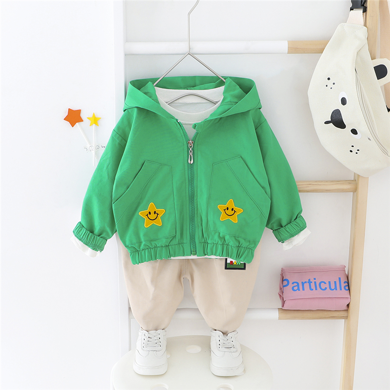 HYLKIDHUOSE 2020 Spring Toddler Infant Clothing Sets Baby Girls Boys Hooded Star Coats Pants Kids Children Vacation Clothing