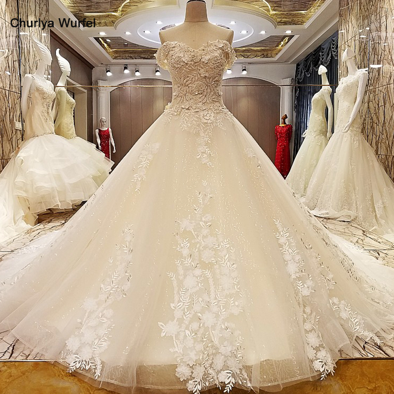 LS95678 champagne wedding dress luxury beaded corset back sweetheart A line appliques bridal dress wedding real photos hot sell