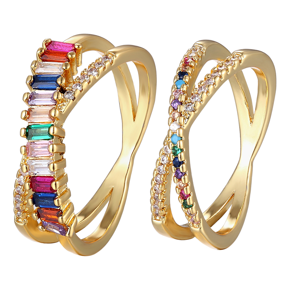 Top Quality Colorful Rainbow CZ Gold Ring For Women Girls Fashion Engagement Wedding Band Charm Party Jewelry 10 Styles Choice