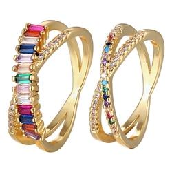 Gorąca sprzedaż klasyczny Rainbow CZ złoty pierścionek dla kobiet dziewczyny moda zaręczyny ślub pasmo urok Party biżuteria prezent