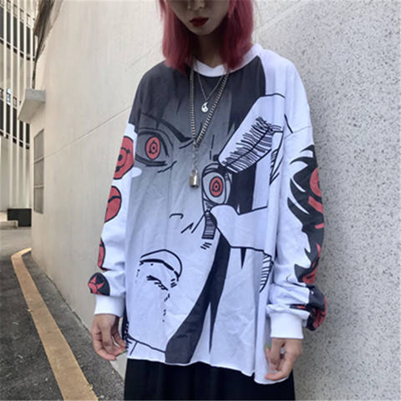 Hip Hop Naruto   T     Shirt   Fashion Uzumaki Sasuke Uchiha Men   T  -  shirt   Casual Vintage TShirt Cartoon Printed Long Sleeve   Shirts   Male