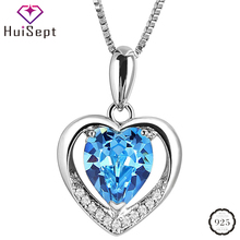 цена на HuiSept Fashion Jewelry 925 Silver Necklace with Heart-shape Sapphire Gemstone Zircon Pendant for Female Wedding Party Ornaments