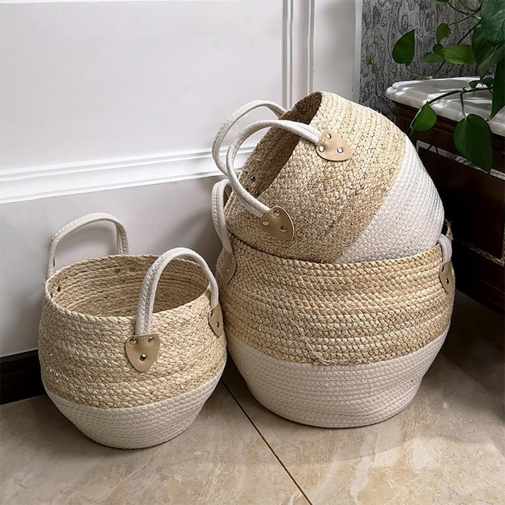 Woven Storage Basket Desktop Storage Box Snack Toy Straw Storage Box Holder Seagrass Wickerwork Basket Home Decor